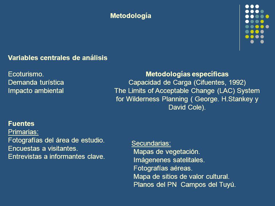 Variables centrales de análisis Ecoturismo. Demanda turística