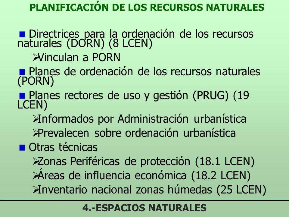 PLANIFICACIÓN DE LOS RECURSOS NATURALES