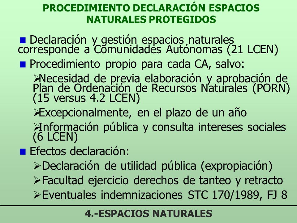 PROCEDIMIENTO DECLARACIÓN ESPACIOS NATURALES PROTEGIDOS