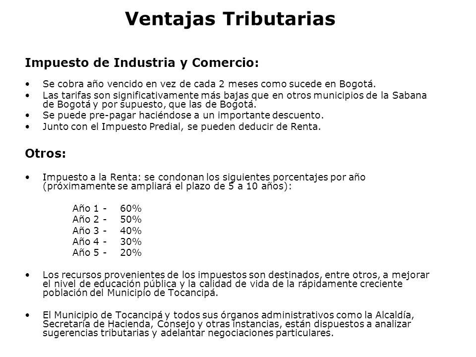 Ventajas Tributarias Impuesto de Industria y Comercio: Otros: