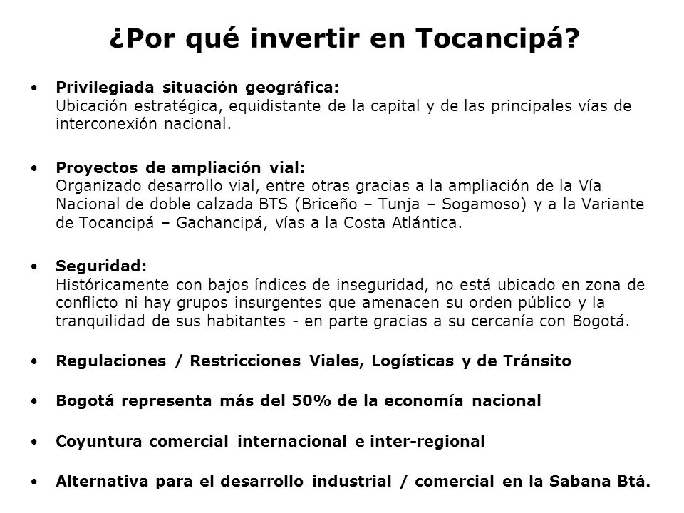 ¿Por qué invertir en Tocancipá