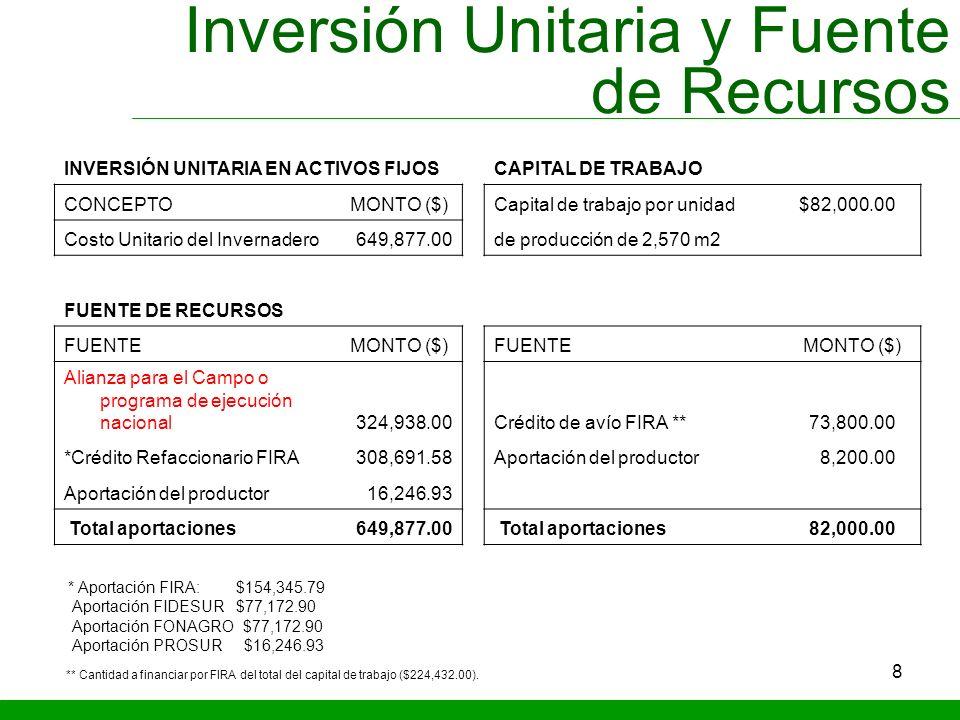Inversión Unitaria y Fuente de Recursos