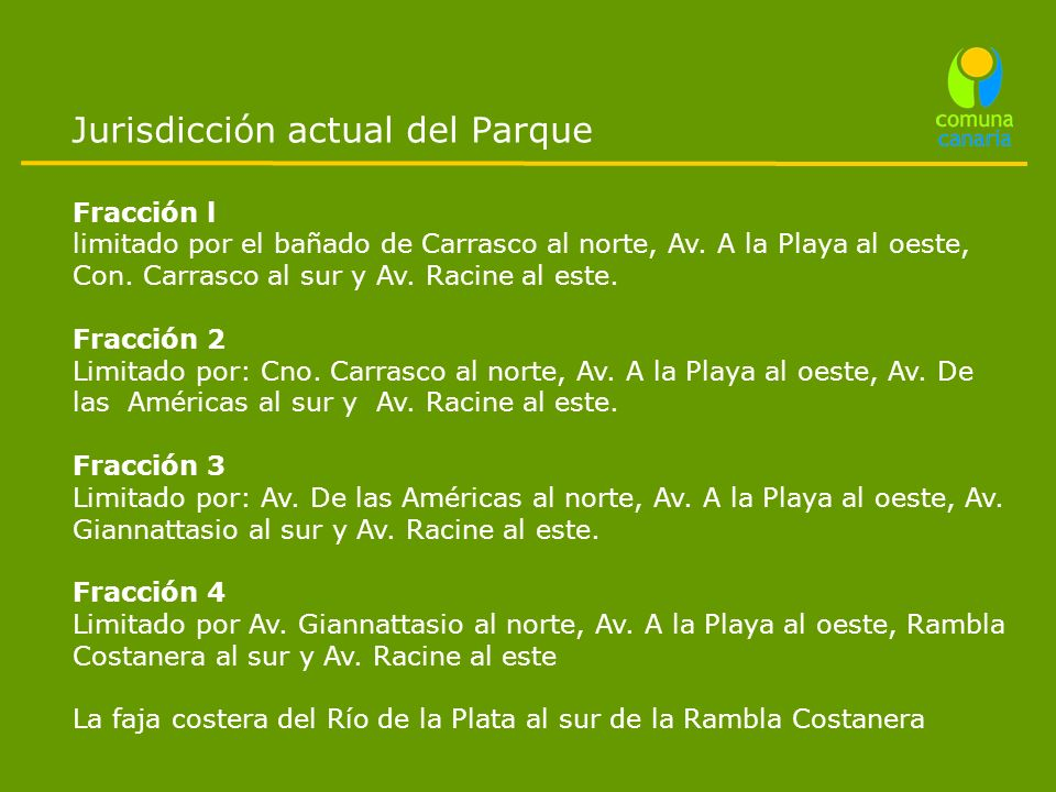 Jurisdicción actual del Parque