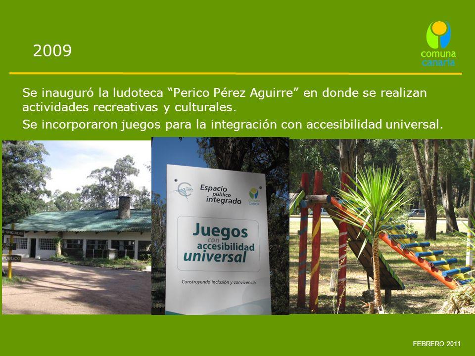 2009 Se inauguró la ludoteca Perico Pérez Aguirre en donde se realizan actividades recreativas y culturales.