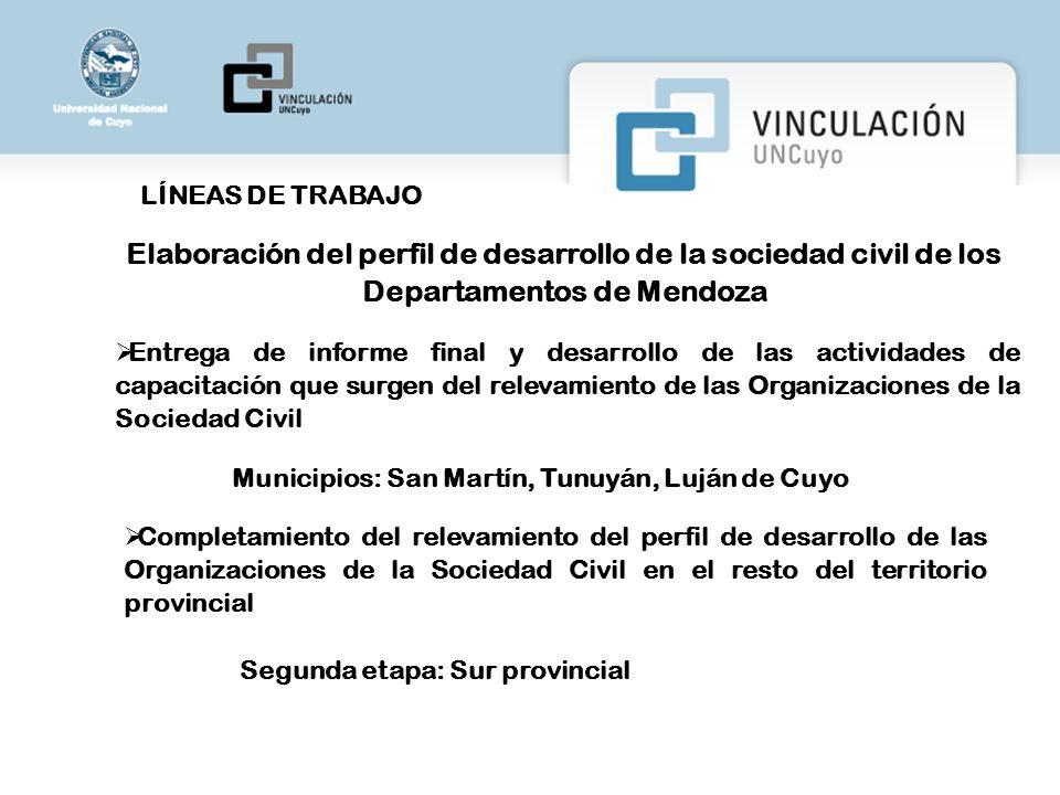LÍNEAS DE TRABAJO Elaboración del perfil de desarrollo de la sociedad civil de los Departamentos de Mendoza.