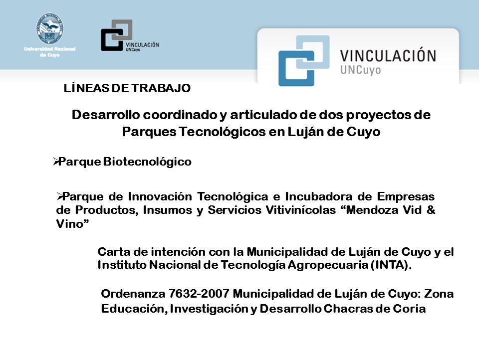 LÍNEAS DE TRABAJO Desarrollo coordinado y articulado de dos proyectos de Parques Tecnológicos en Luján de Cuyo.