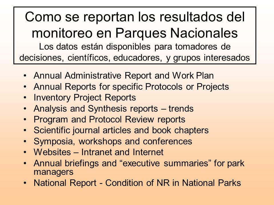 Como se reportan los resultados del monitoreo en Parques Nacionales Los datos están disponibles para tomadores de decisiones, científicos, educadores, y grupos interesados