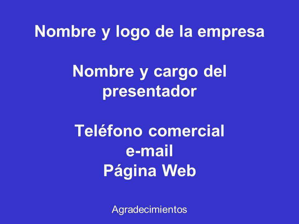 Nombre y logo de la empresa Nombre y cargo del presentador Teléfono comercial e-mail Página Web