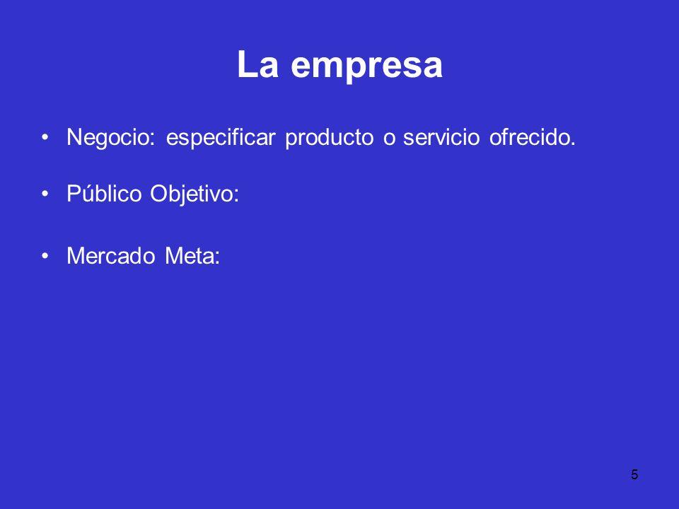La empresa Negocio: especificar producto o servicio ofrecido.