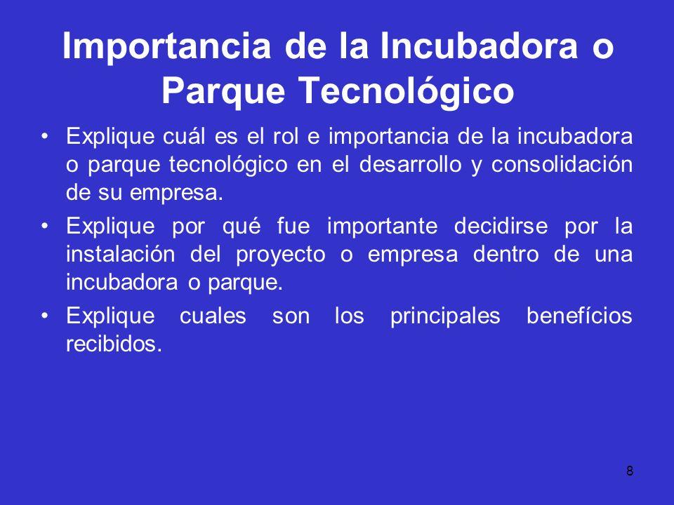 Importancia de la Incubadora o Parque Tecnológico