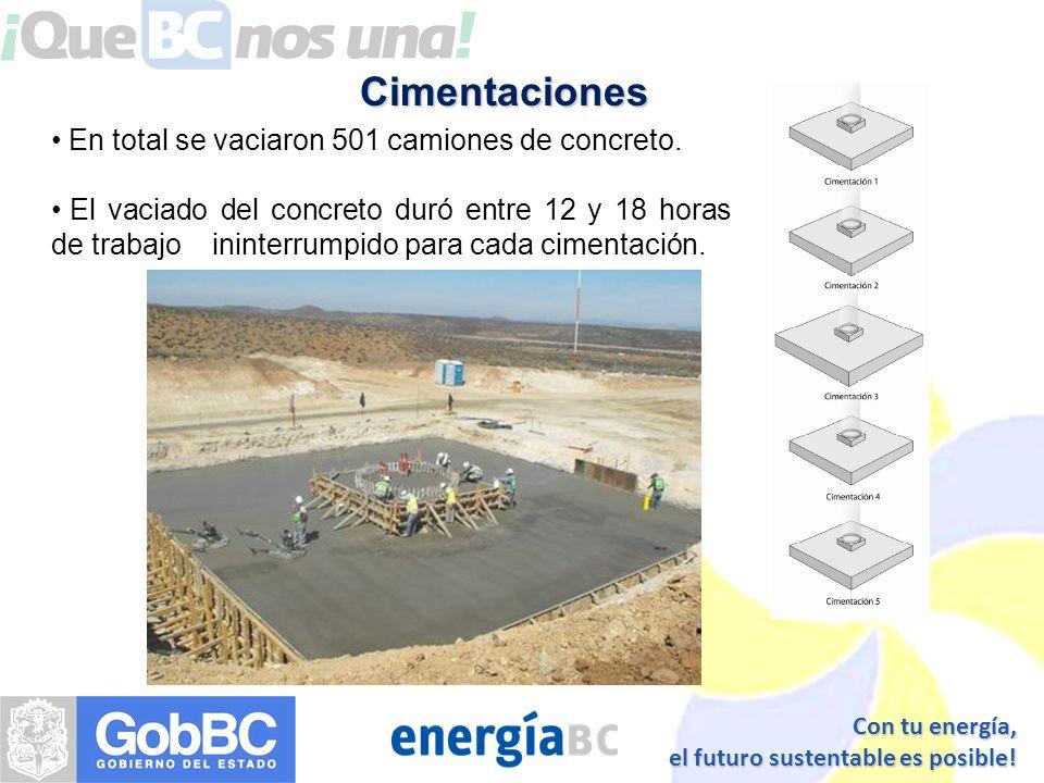 Cimentaciones En total se vaciaron 501 camiones de concreto.