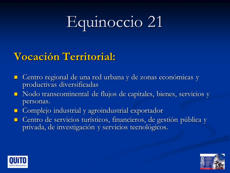 Equinoccio 21 Vocación Territorial: