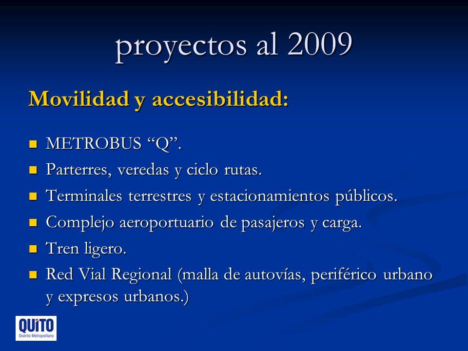 proyectos al 2009 Movilidad y accesibilidad: METROBUS Q .