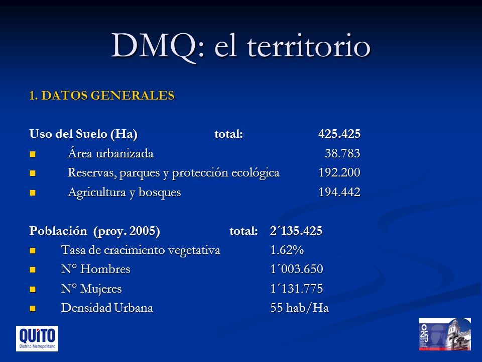 DMQ: el territorio 1. DATOS GENERALES