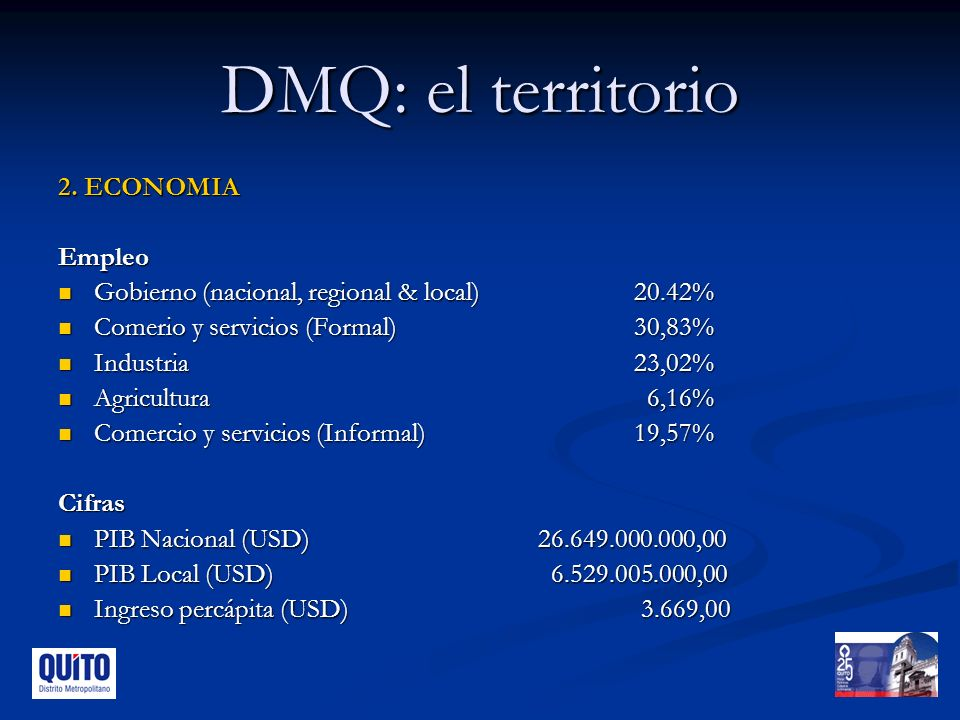 DMQ: el territorio 2. ECONOMIA Empleo