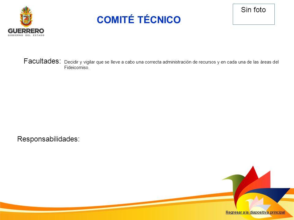 COMITÉ TÉCNICO Sin foto Facultades: Responsabilidades: