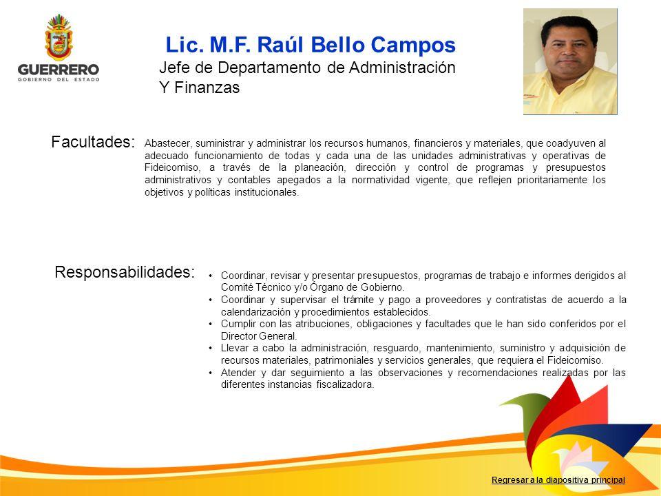 Lic. M.F. Raúl Bello Campos