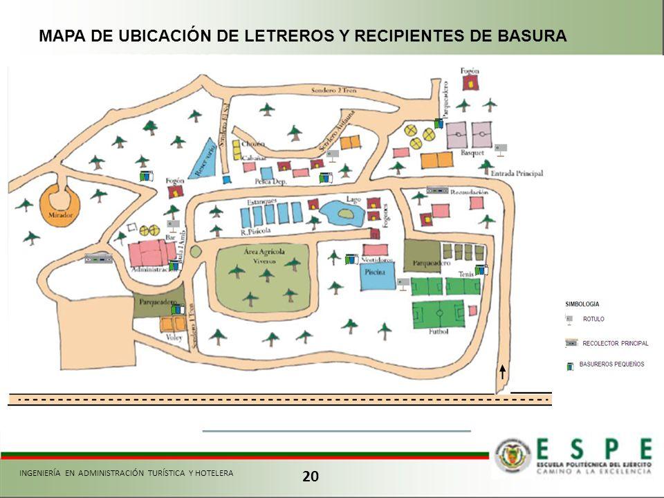 MAPA DE UBICACIÓN DE LETREROS Y RECIPIENTES DE BASURA