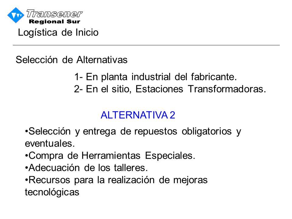 Logística de Inicio Selección de Alternativas. 1- En planta industrial del fabricante. 2- En el sitio, Estaciones Transformadoras.