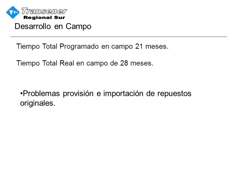 Desarrollo en Campo Tiempo Total Programado en campo 21 meses. Tiempo Total Real en campo de 28 meses.