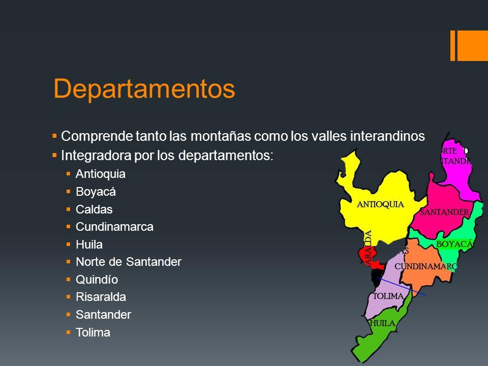 Departamentos Comprende tanto las montañas como los valles interandinos. Integradora por los departamentos:
