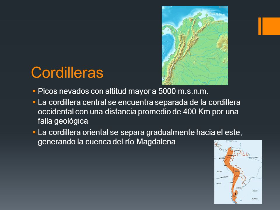 Cordilleras Picos nevados con altitud mayor a 5000 m.s.n.m.