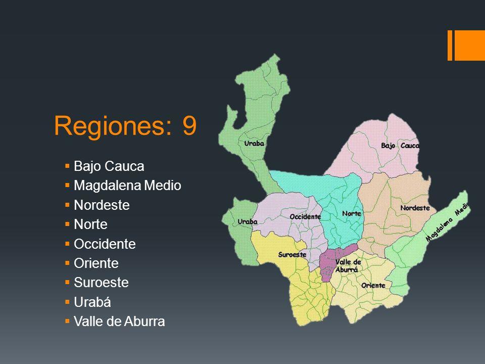 Regiones: 9 Bajo Cauca Magdalena Medio Nordeste Norte Occidente