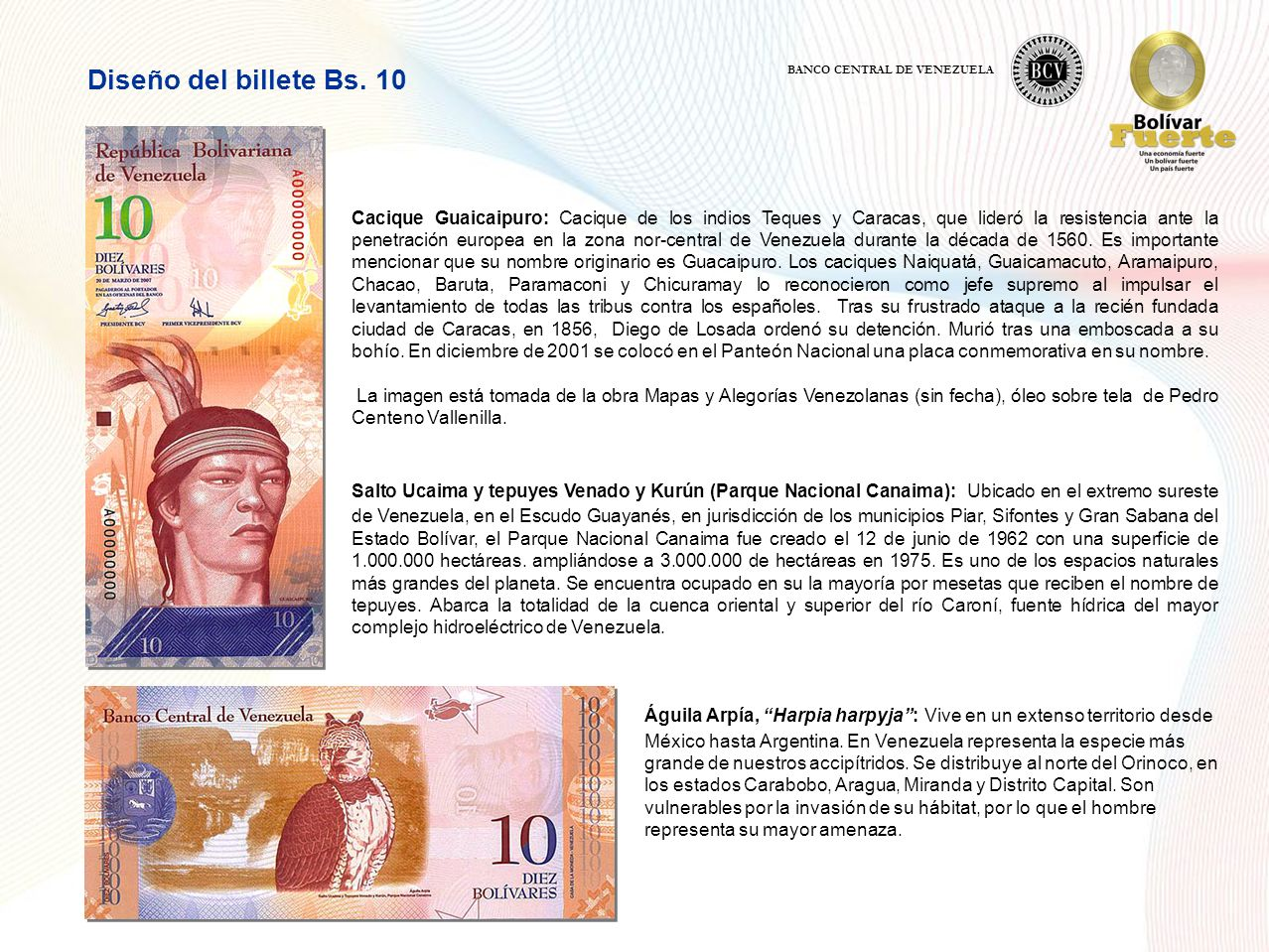 Diseño del billete Bs. 10 BANCO CENTRAL DE VENEZUELA.
