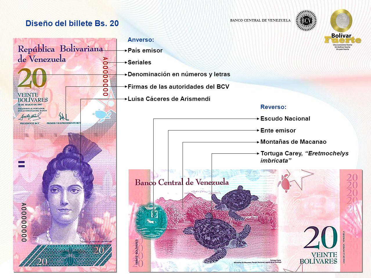 Diseño del billete Bs. 20 Anverso: País emisor Seriales
