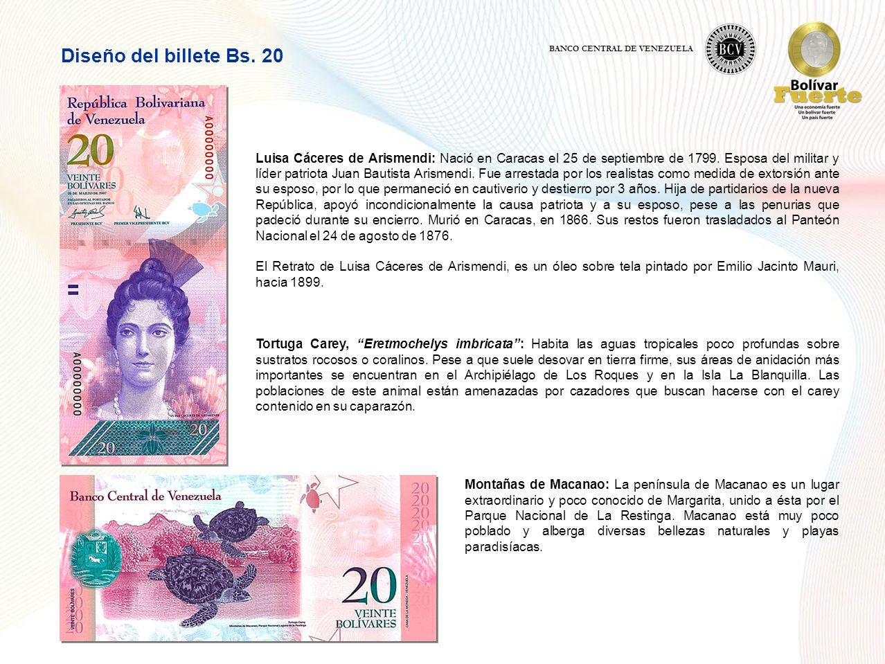 Diseño del billete Bs. 20 BANCO CENTRAL DE VENEZUELA.