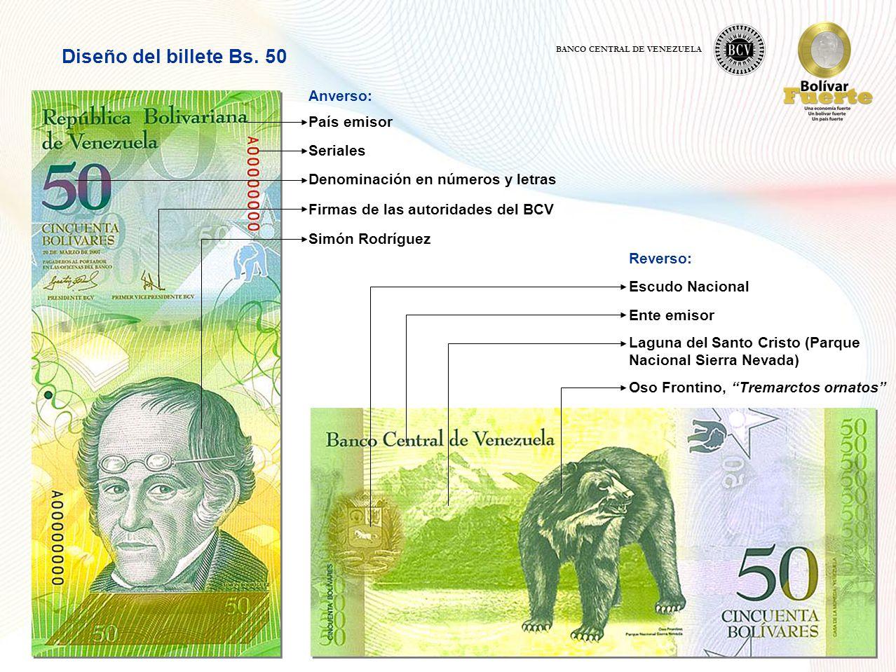 Diseño del billete Bs. 50 Anverso: País emisor Seriales