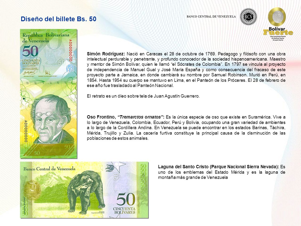 Diseño del billete Bs. 50 BANCO CENTRAL DE VENEZUELA.