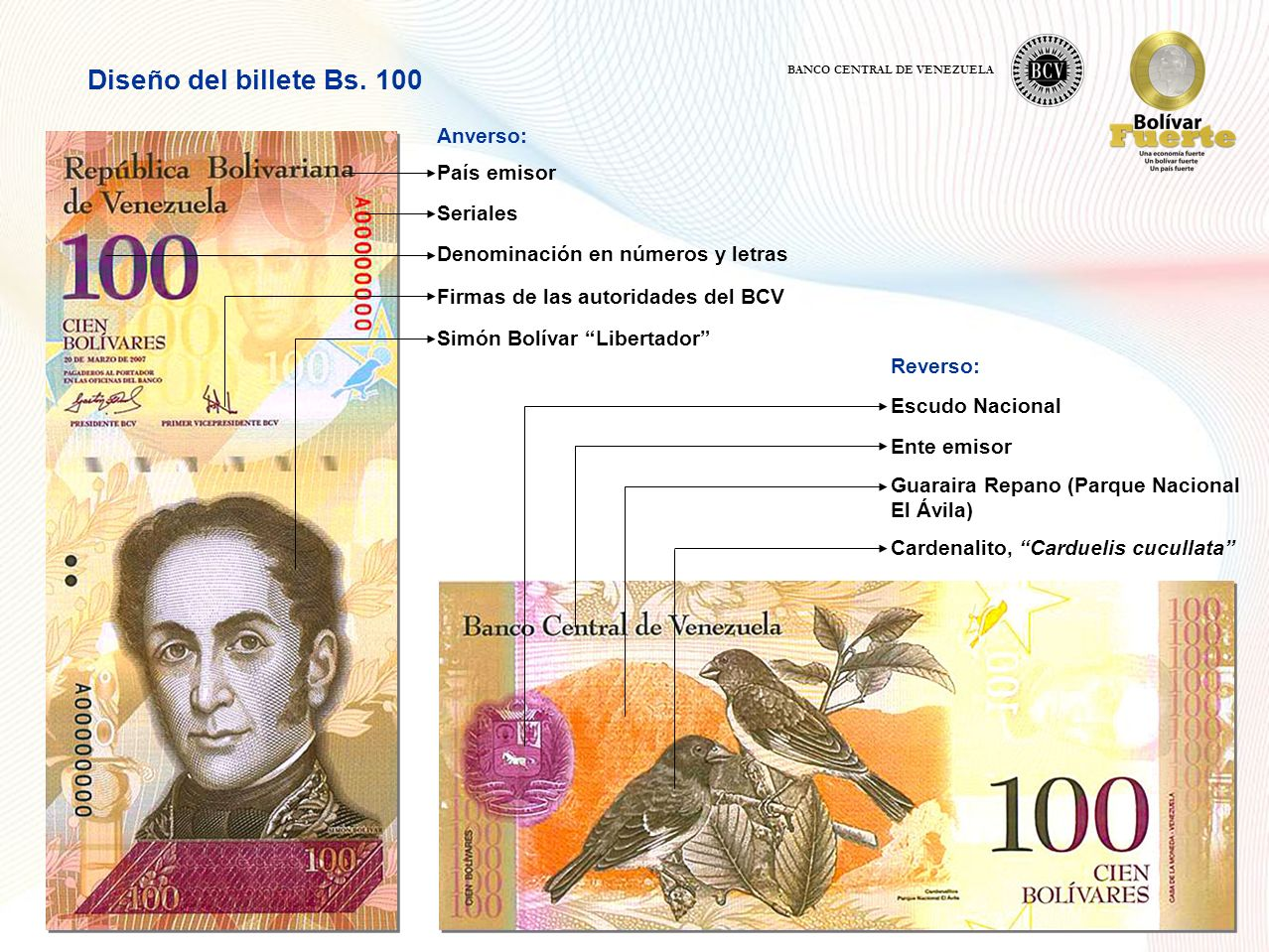 Diseño del billete Bs. 100 Anverso: País emisor Seriales