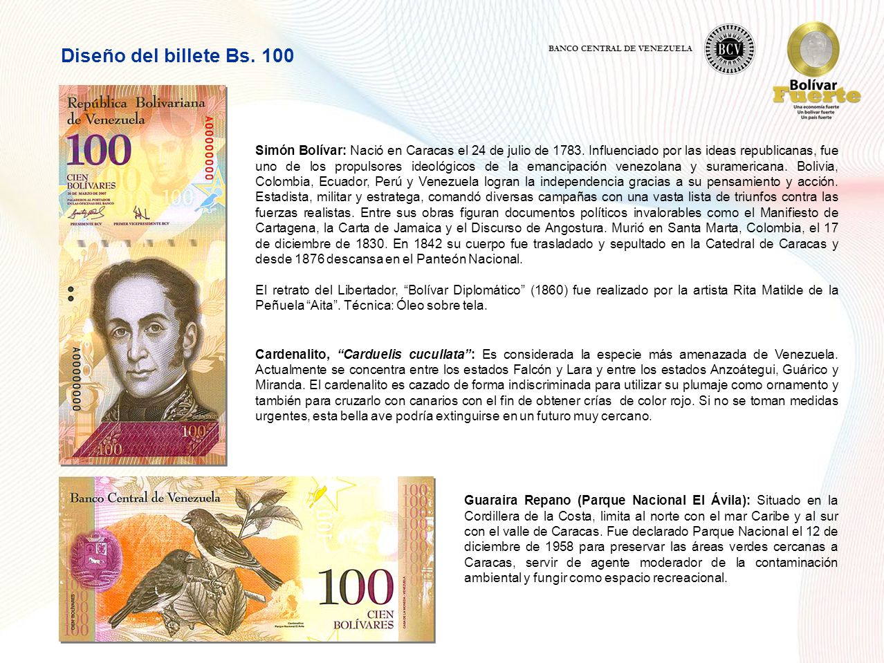 Diseño del billete Bs. 100 BANCO CENTRAL DE VENEZUELA.