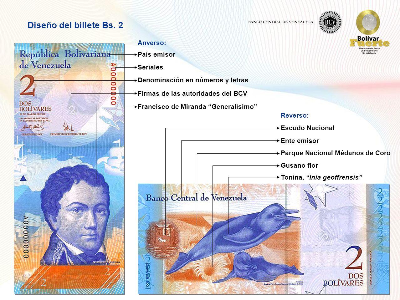 Diseño del billete Bs. 2 Anverso: País emisor Seriales