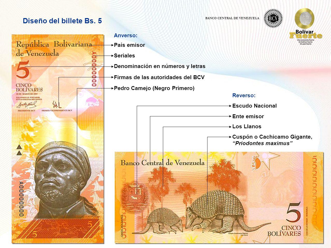 Diseño del billete Bs. 5 Anverso: País emisor Seriales