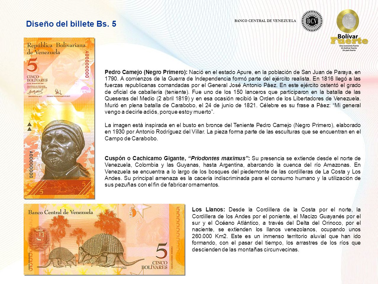 Diseño del billete Bs. 5 BANCO CENTRAL DE VENEZUELA.