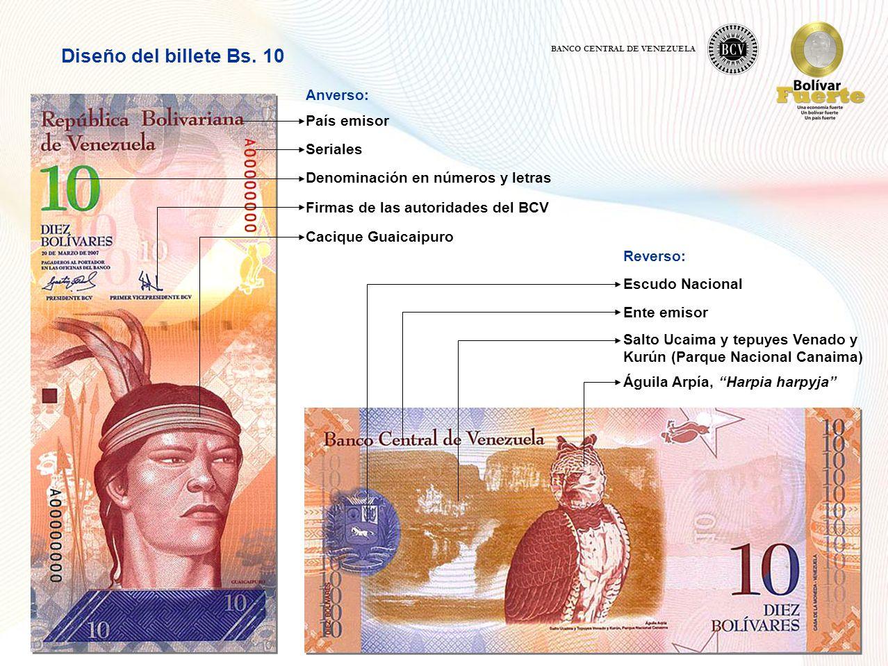 Diseño del billete Bs. 10 Anverso: País emisor Seriales