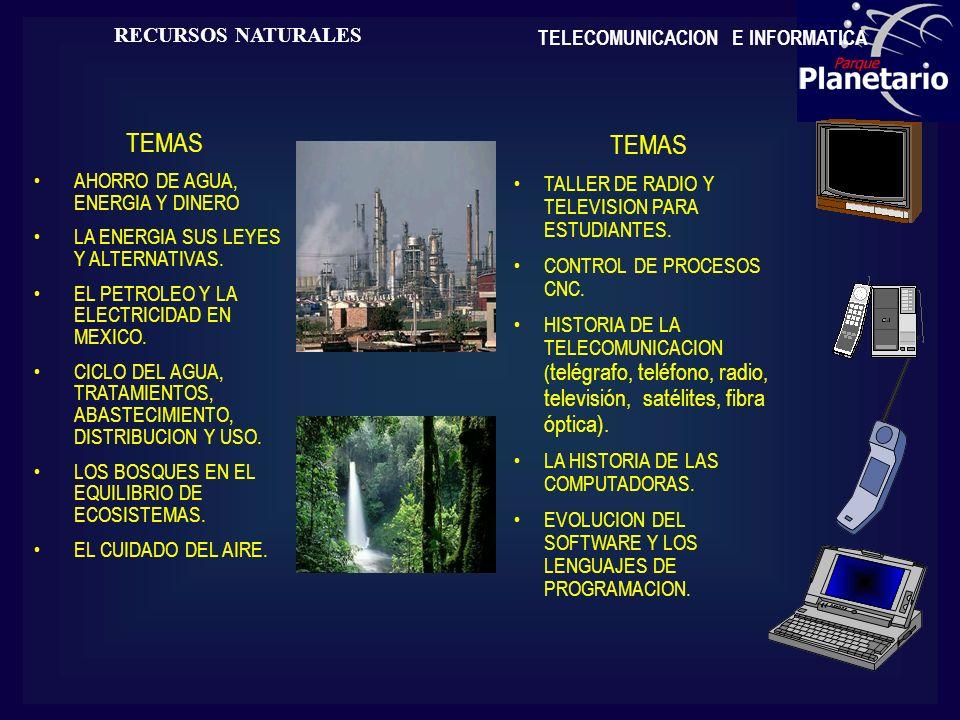 TEMAS TEMAS RECURSOS NATURALES TELECOMUNICACION E INFORMATICA