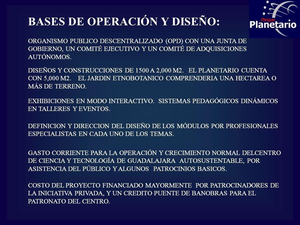 BASES DE OPERACIÓN Y DISEÑO: