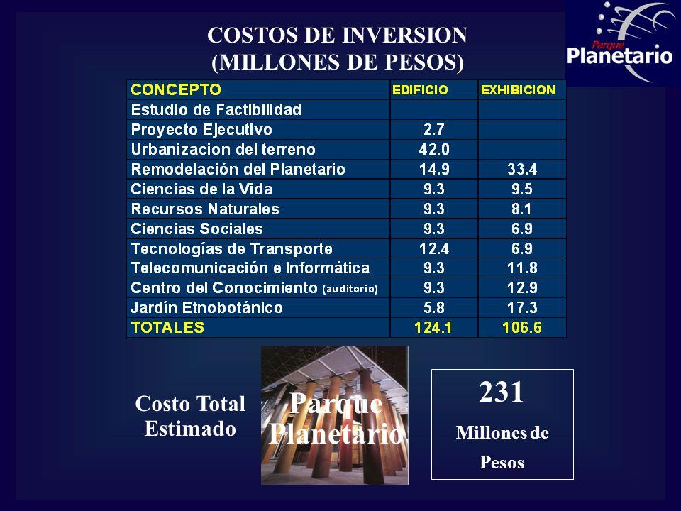 COSTOS DE INVERSION (MILLONES DE PESOS)
