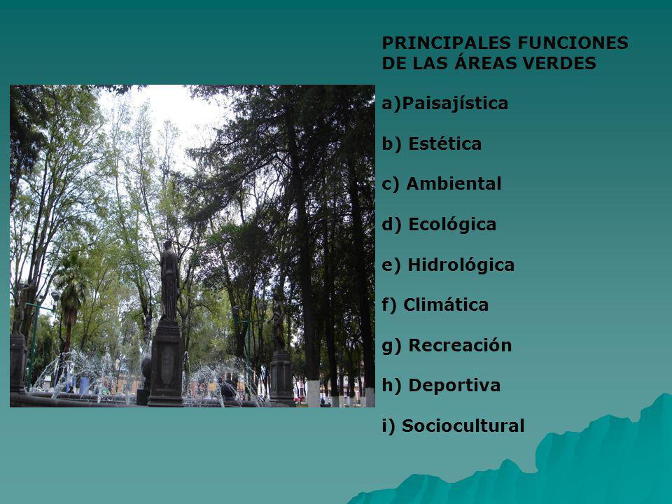PRINCIPALES FUNCIONES DE LAS ÁREAS VERDES