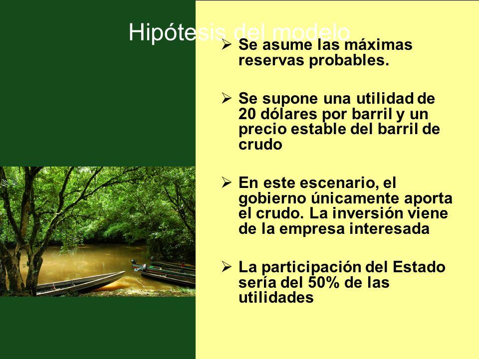 Hipótesis del modelo Se asume las máximas reservas probables.