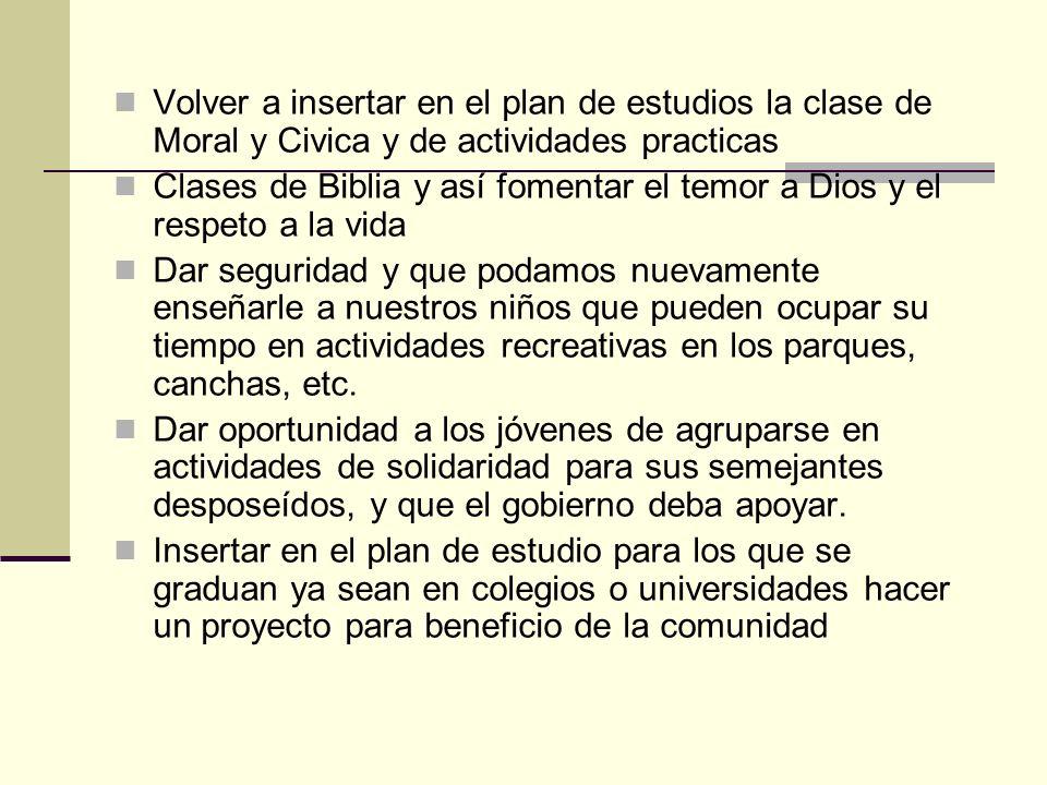 Volver a insertar en el plan de estudios la clase de Moral y Civica y de actividades practicas