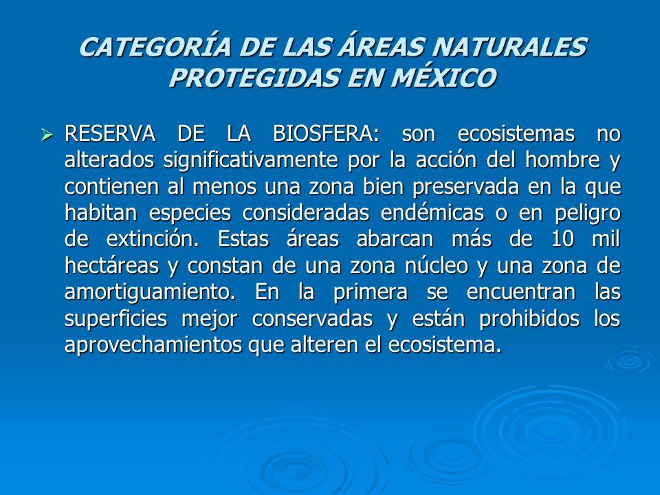 CATEGORÍA DE LAS ÁREAS NATURALES PROTEGIDAS EN MÉXICO
