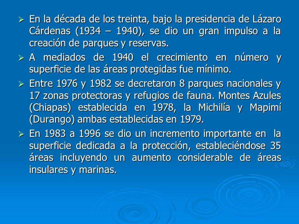 En la década de los treinta, bajo la presidencia de Lázaro Cárdenas (1934 – 1940), se dio un gran impulso a la creación de parques y reservas.