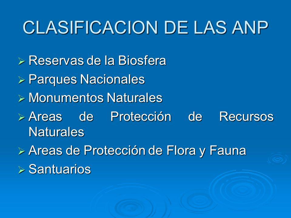 CLASIFICACION DE LAS ANP