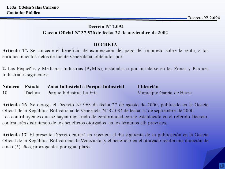 Gaceta Oficial Nº 37.576 de fecha 22 de noviembre de 2002