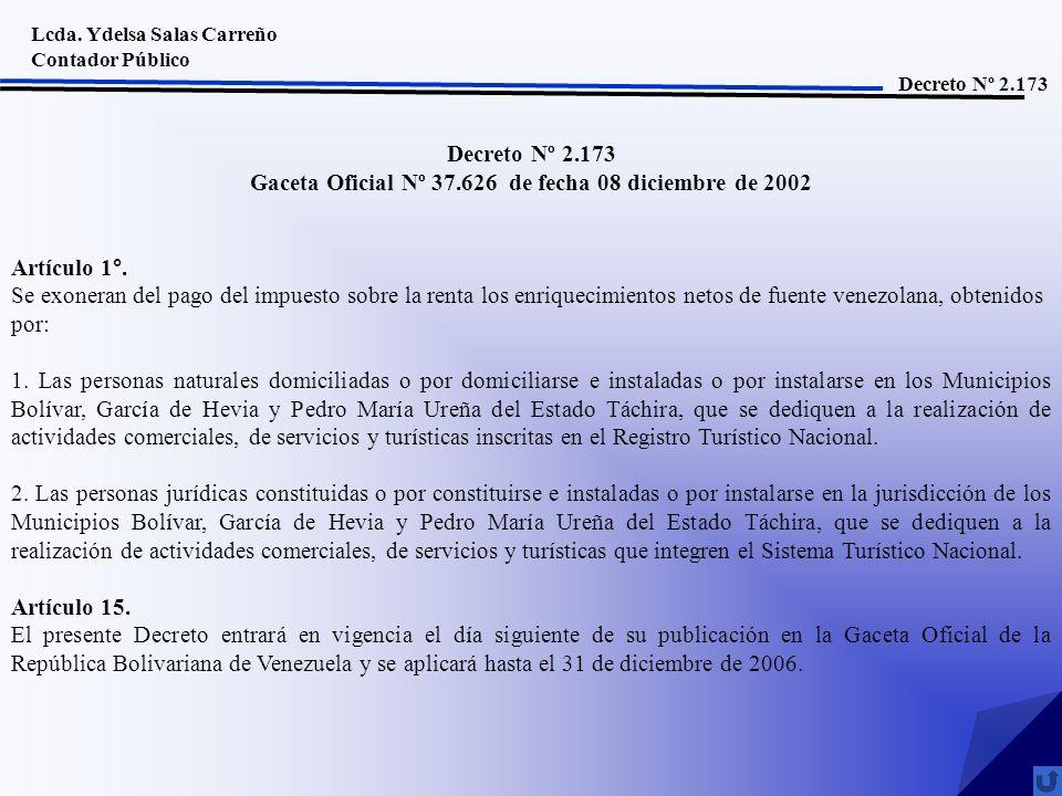Gaceta Oficial Nº 37.626 de fecha 08 diciembre de 2002