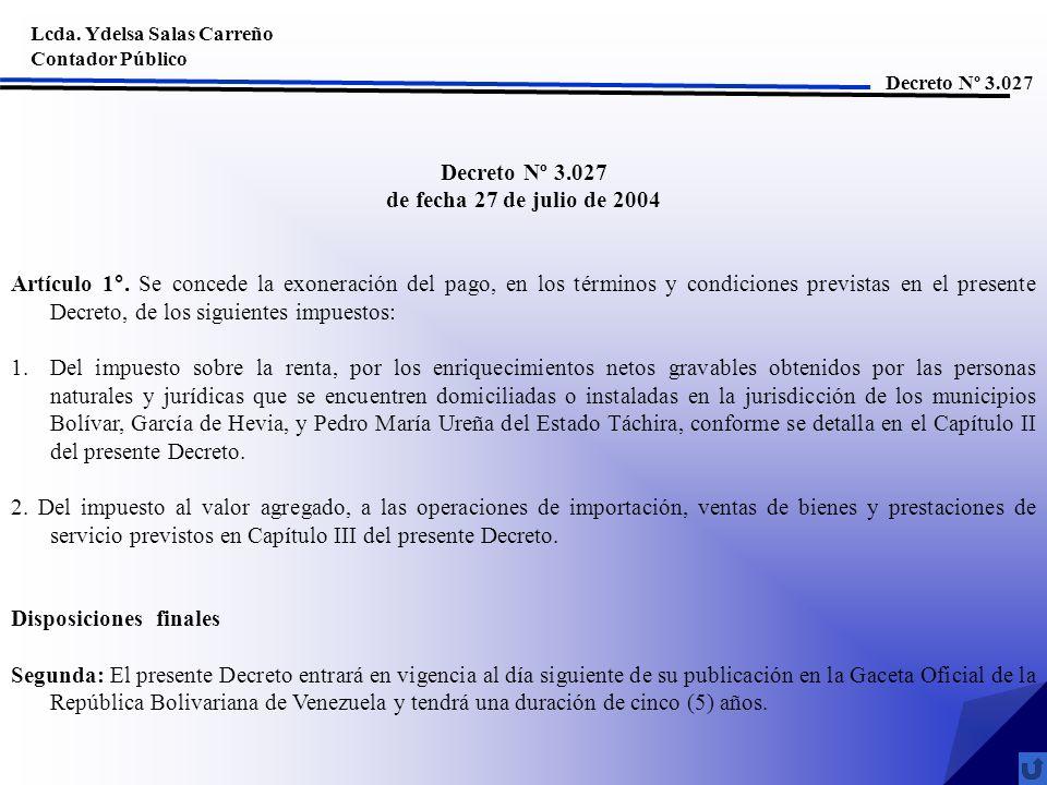 Decreto Nº 3.027 de fecha 27 de julio de 2004